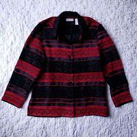 Drapers & Damons Petites Brocade Blazer Womens Size PM Red Black Striped