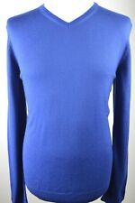 SUPERB men's Hugo Boss blue virgin wool V neck fine knit slim fit jumper large