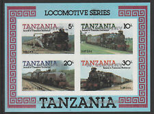 Tanzania 4315 - 1986 RAILWAYS  IMPERF m/sheet with AMERIPEX OVERPRINT INVERTED
