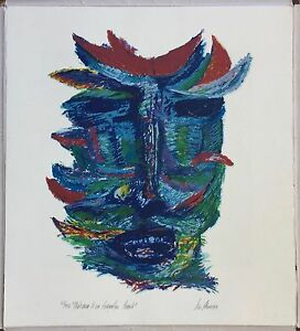 Luis Alonso Serigraph Print  Máscara De Un Guerrillero Errante Puerto Rico 1993