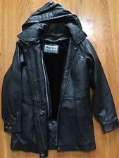 Wilda Black Leather Coat With Datachable Hood & Lining Mens Size M New W/O Tag