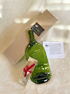Artisan Melted Glass Wine Bottle Cheese Plate and Cheese Knife by Val Huegerich