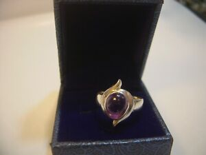 LOVLEY SOLID SILVER BAND RING UNUSUAL SUPERB AMETHYST QUALITY-SIZE N1/2 VINTAGE