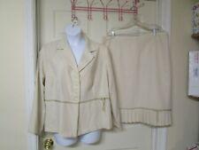 Women's Danielle  Tan & White  2 PC Skirt Suit. Size 22 W. Jacket - Skirt