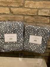 Pottery Barn Leada Print Curtains Drapes Linen Cotton Panels Set 2 50x96 Decor