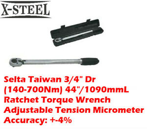 """Selta Taiwan 3/4"""" Dr (140-700Nm) 44""""/1090mmL Ratchet Torque Wrench Adjustable"""