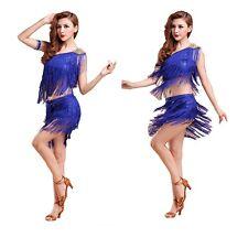 AU NEW Adult Jazz/Latin/Ballet Dance Costume Tassel Dancing Top And Skirt M -XXL