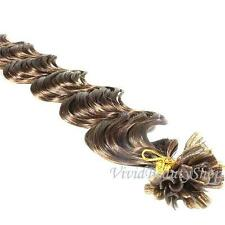 50 U Nail Tip Fusion Deep Wave Curly Remy Human Hair Extensions Medium Brown #4