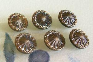 6 vintage black glass Art Deco buttons 18 mm. diameter/platinum lustre
