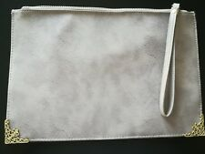 NEW ATMOSPHERE FAUX LEATHER CLUTCH BAG, GREY,