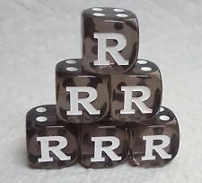 "DICE - LETTER ""R"" on *SIX* 16mm TL SMOKE with WHITE ""R"" AS #1 and WHITE PIPS"