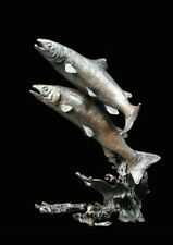 Salmon Pair Bronze Foundry Cast Sculpture by Keith Sherwin [975]