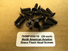 #10-32 Brass Flush Instrument Screws WWII Aircraft T6 B17 B25 P51 P40 Warbird