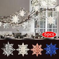 6XSchneeflocken 15/25cm Snowflake Weihnachtsbaumdeko Christbaumschmuck Aufhängen