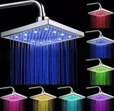 LED Light Square Rain Shower Head Stainless Steel 7Color Changing