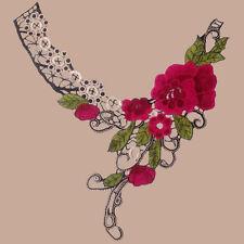 1PC Embroidered Flower Lace Collar Applique Motif Neckline Venise Sewing Trims
