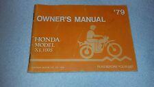 Honda XL100S Owners Manual 1979 XL100 Original Factory not reprint + More