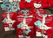 Lady 2 pc HELLO KITTY MICRO FLEECE red top blue bottom pj set socks  LARGE