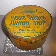 vintage Liquid Veneer Junior mop tin (empty), great graphics & colors, 6.5 x 3.5