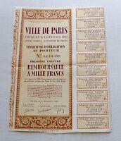 France WWII bond 1942 City of PARIS 3.5% Coupons UNCANCELLED 1000 francs - MINT