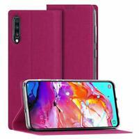 Galaxy A70 Case Flip Folio Wallet Cover Slim Premium PU Leather Kickstand Rose
