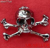 NEW JOLLY ROGER GOTH PUNK BIKER GUN METAL BLACK SKULL BROACH CROSS ROCK BROOCH