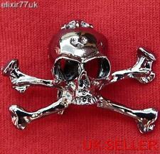 NUOVO Jolly Roger Goth Punk Motociclista Pistola Metallo Nero Teschio Broccia Croce Spilla di Rock