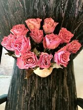 12 Dried Pink Roses for Bouquet, Wreaths, Weddings, Crafts, Potpourri