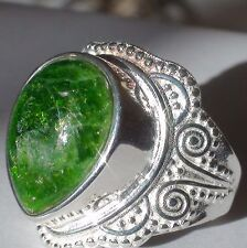 12.50 ct NATURAL CHROME DIOPSIDE RING,925 STERLING SILVER.Size 6,25.