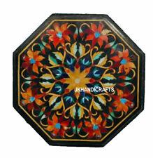 "18"" Black Marble Table Top Inlay Pietra dura Handmade Work Home Decor"