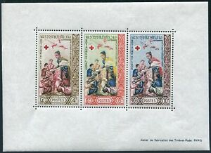 Laos 87a sheet,hinged.Michel Bl.32. Red Cross-100,1963.Queen Khamphouy.