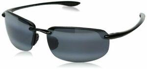 NEW Maui Jim Hookipa Grey Lens Gloss Black Frame Sunglasses 407-02 UNISEX