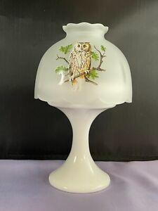 VTG WESTMORELAND CRYSTAL MIST GLASS FAIRY LAMP W/ OWL DECORATION&MILK  BASE