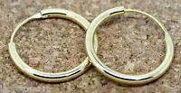 Pair Men Women Gold Plated Hinged Hoop Earrings