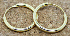 Pair Men Women Girl Gold 18K Plated Hinged Hoop Earrings Size 8mm
