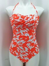 Shoshanna Underwire One Piece Swimsuit Orange White Style 15PL7103 Womens Size 8
