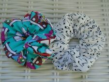 PACK OF 2 CAMPERVAN & MUSIC NOTES SCRUNCHIES SCRUNCHY HAIR ACCESSORY SUMMER TIE