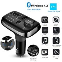 Dual USB Charger Wireless Handsfree Car Kit FM Transmitter MP3 Player AUX Input