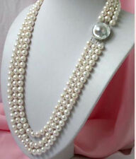 """New 3 ROWS 7-8MM white AAA SOUTH SEA pearl necklace 18-19-20"""""""