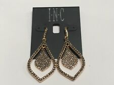"I.N.C Black Diam Double Drop Crystal Gold Plated Earrings Macy's 2"" New M994"