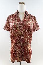 ANN TAYLOR LOFT Women's Short Sleeve Button Down Paisley Blouse Sz 8 Multicolor