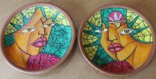 2 coupes en terre cuite avec collage de peinture de l artiste cubain luis f.