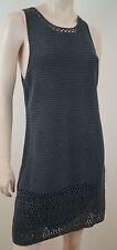THEORY Grey Black Wash Sleeveless Knit Crochet Short Mini Shift Dress Sz:L BNWT