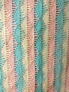 """PINK & BLUE HAND CROCHETED BABY AFGHAN SIZE 48"""" x 60"""" SUPER NICE!"""