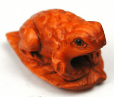 Vintage Hand Carved Boxwood Button Realistic Frog on Lily Pad Design  15/16""
