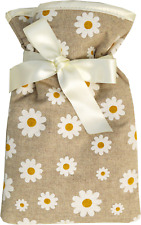 Vagabond Padded Cotton Beige Daisy Chain Cover Miniature 0.5L Hot Water Bottle