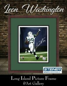 Leon Washington New York Jets Signed Photo  8x10 NEWLY CUSTOM FRAMED Steiner COA