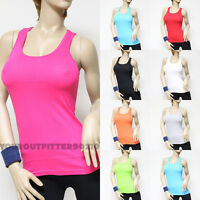 Women's 100% cotton Racer Back stretch tank top  Sleeveless Yoga gym tee new