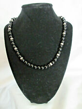 Judith Ripka Black Onyx Beads w/Sterling Silver Beads .925 CZ Lobster Clasp MZ