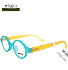 "MIASTO ""CIAO ITALY"" SMALL RETRO ROUND OAVL READER READING GLASSES +1.75 BLUE"